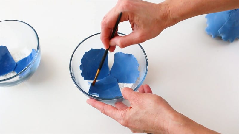 add water to the gumpaste petals