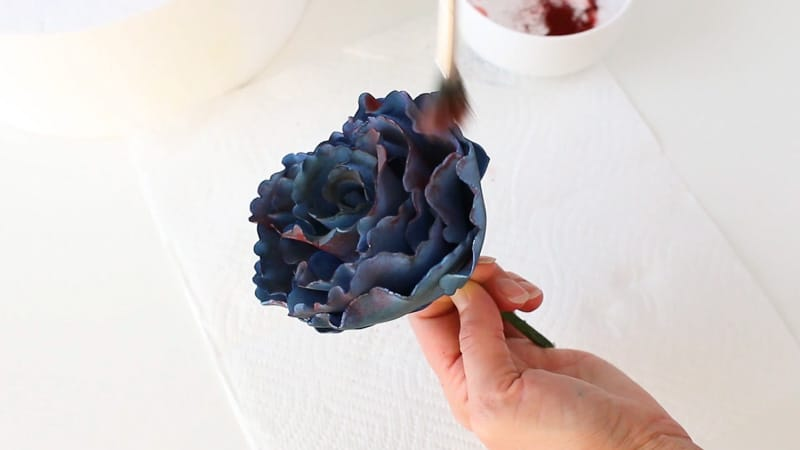 add burgundy petal dust to gumpaste ruffle rose