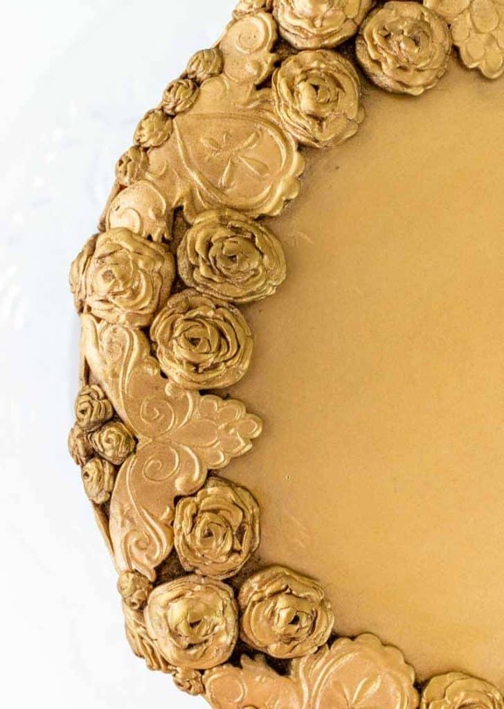 Antiqued Bas Relief Cake close up top