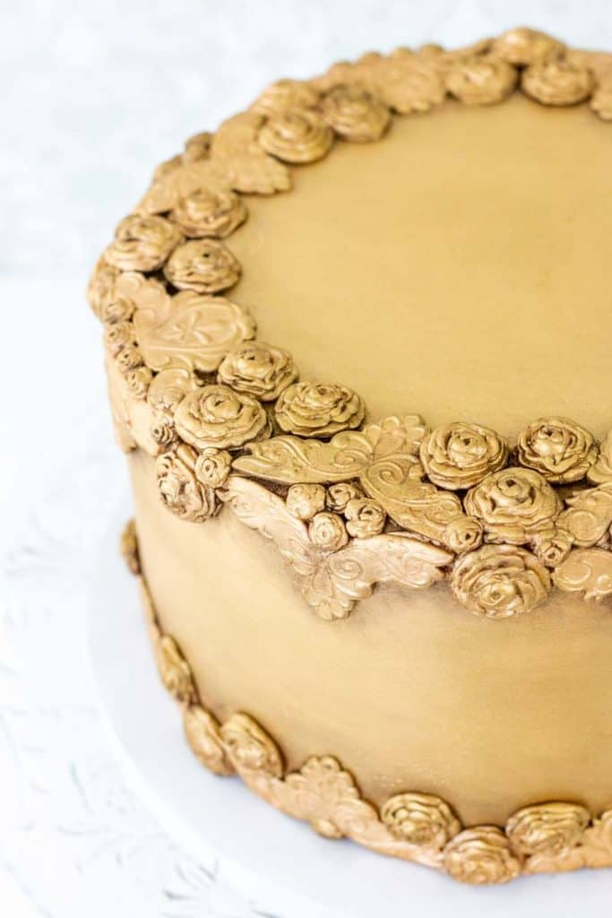 Antiqued Bas Relief Cake side view