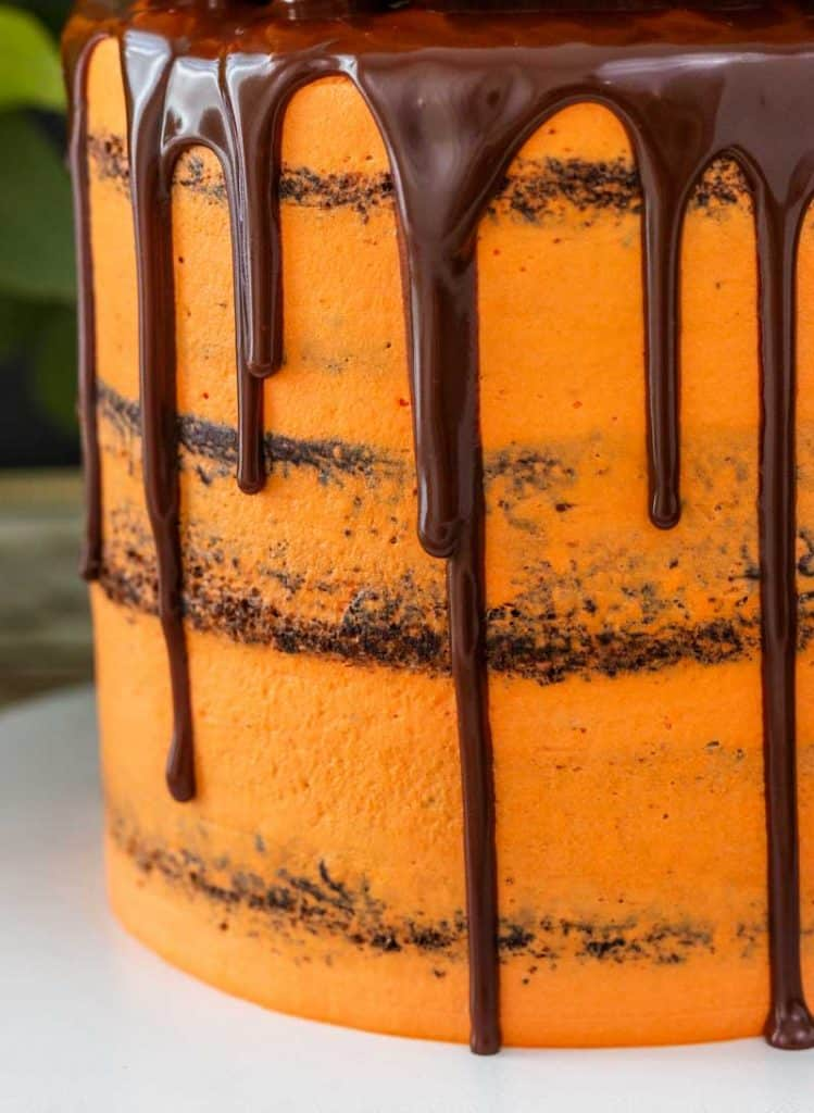 Chocolate drip on orange cake