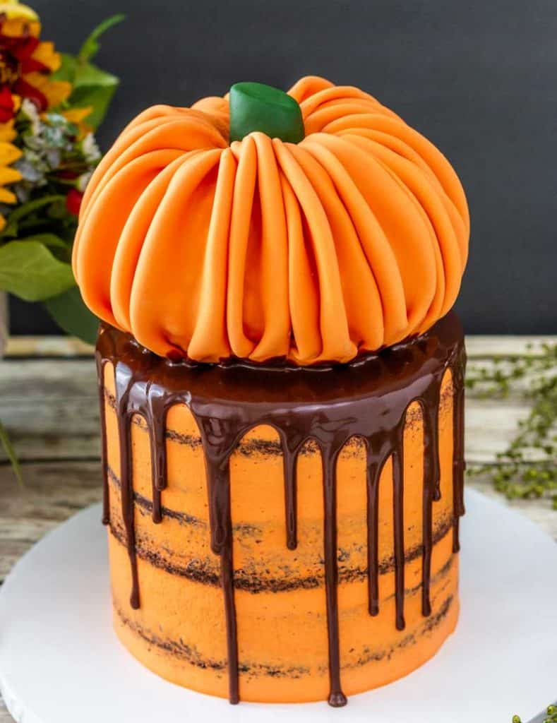 Pumpkin Topped Cake with chocolate drip