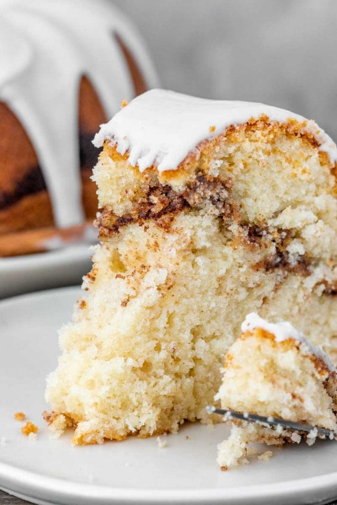 Cinnamon Swirl Sour Cream Cake with bite taken out