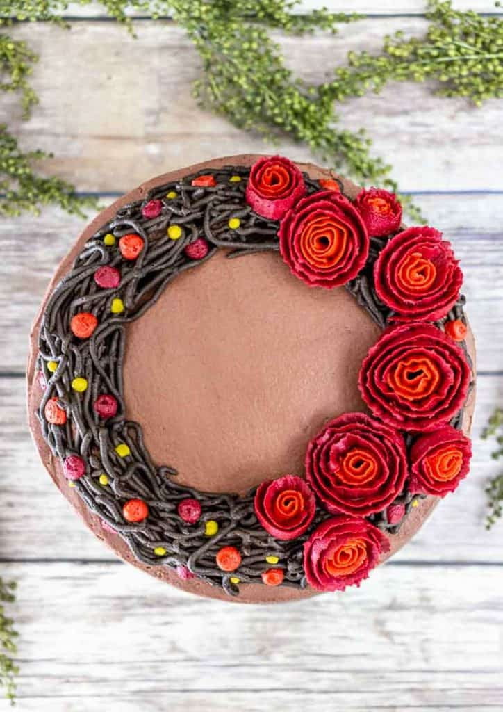 Top view of fall wreath cake