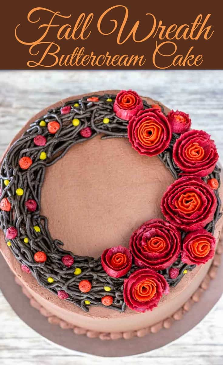 Get that fall feeling with this fall wreath cake tutorial. An easy flower wreath cake really is possible. With the right tips, the buttercream ribbon roses are much easier to pipe than they look. #cakedecorating #fallwreathcake #fallcake #flowerwreathcake #caketutorial #buttercreamcake #cakedecorating #cake