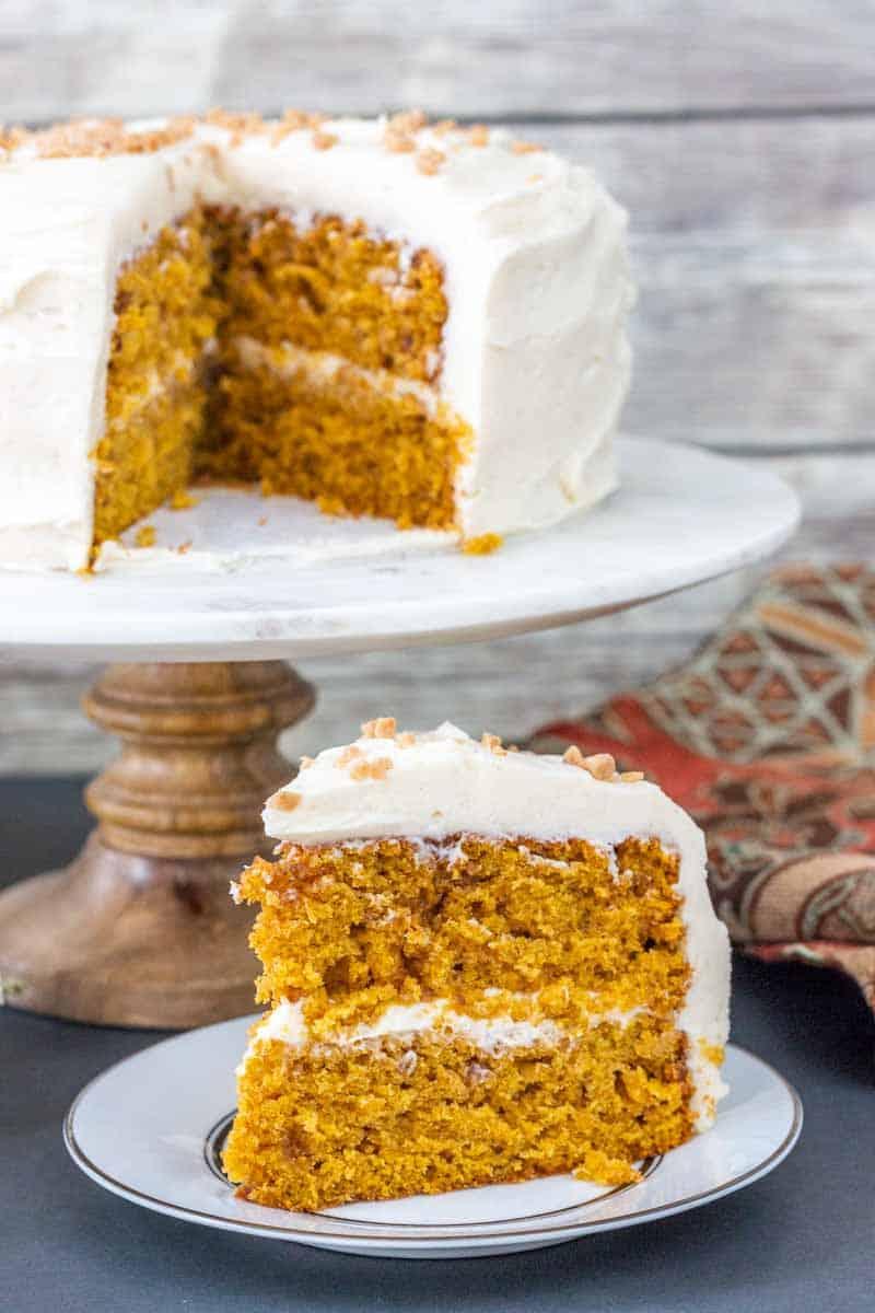 large slice of pumpkin cake