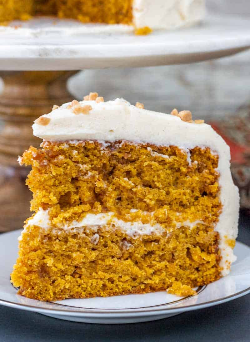 close up of fall cake with cream cheese icing