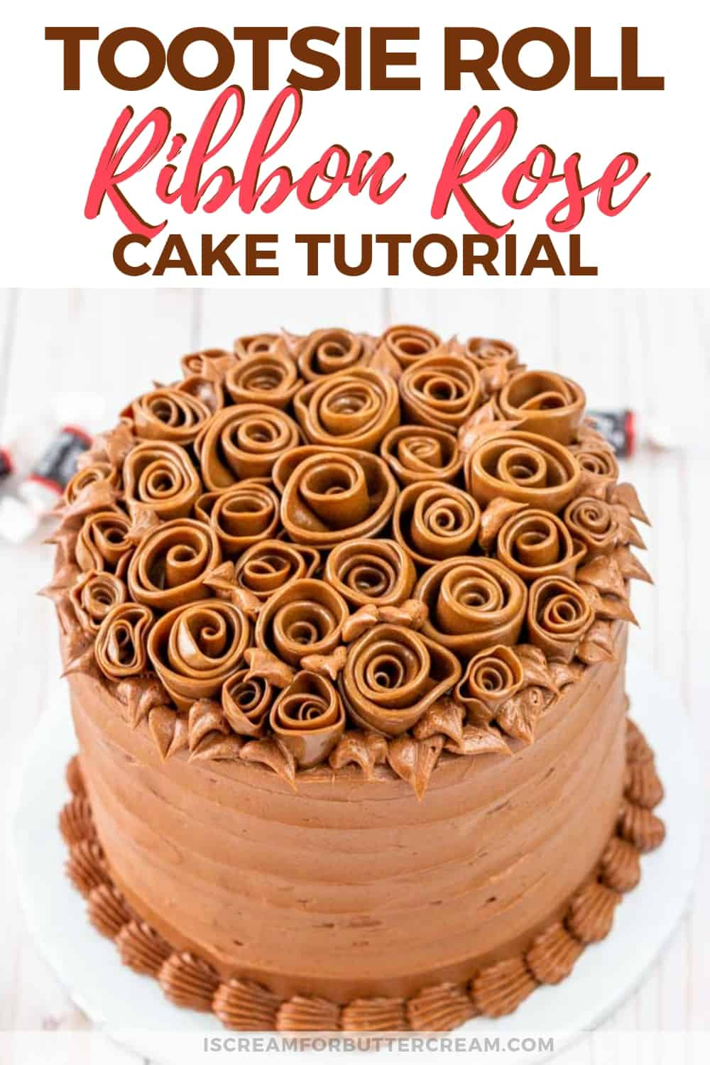 Tootsie Roll Ribbon Rose Cake New Pin Graphic 1