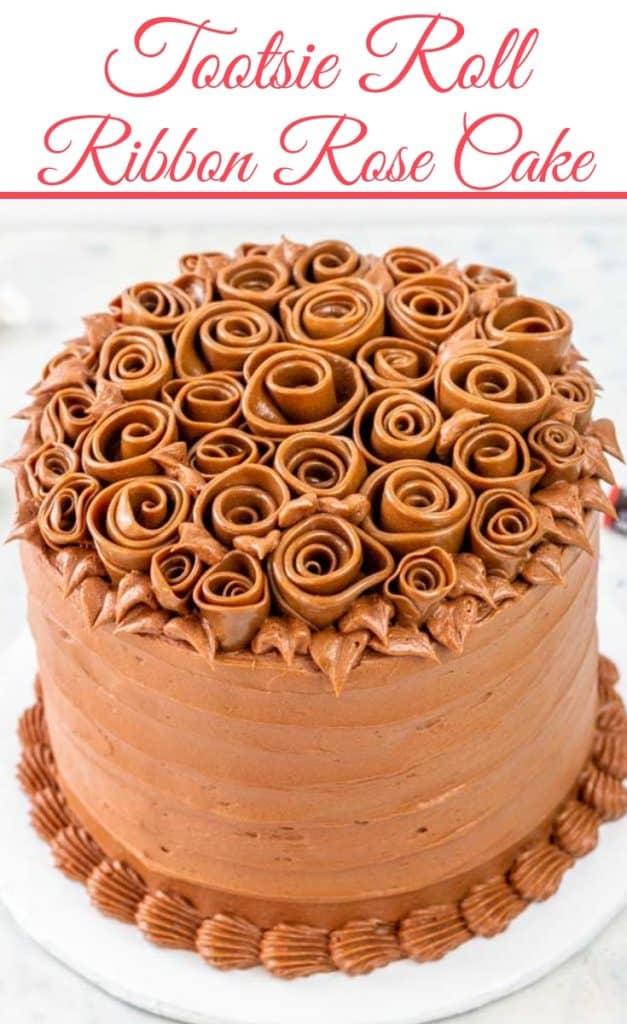 Tootsie Roll Ribbon Rose Cake