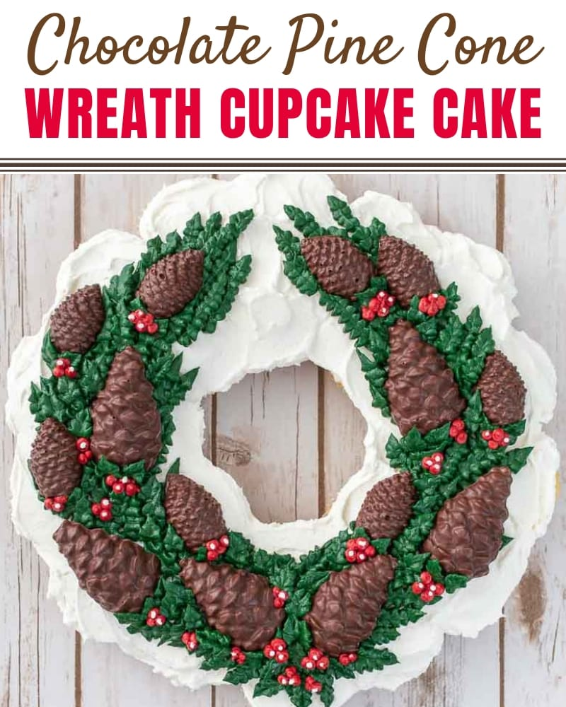 Chocolate Pine Cone Wreath Cupcake Cake Blog Title Graphic