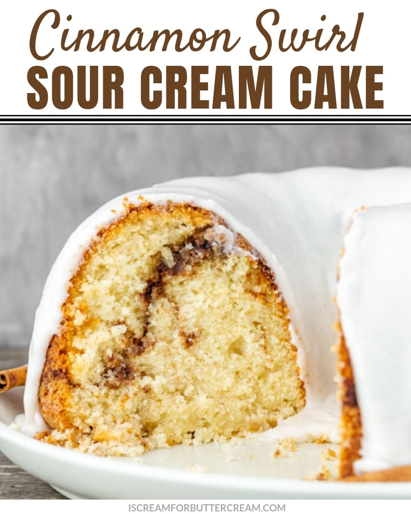 Cinnamon Swirl Sour Cream Cake Blog Title Graphic