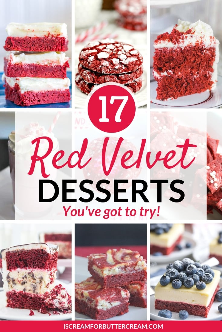 17 Red Velvet Dessert Recipes you need to try Pin Graphic