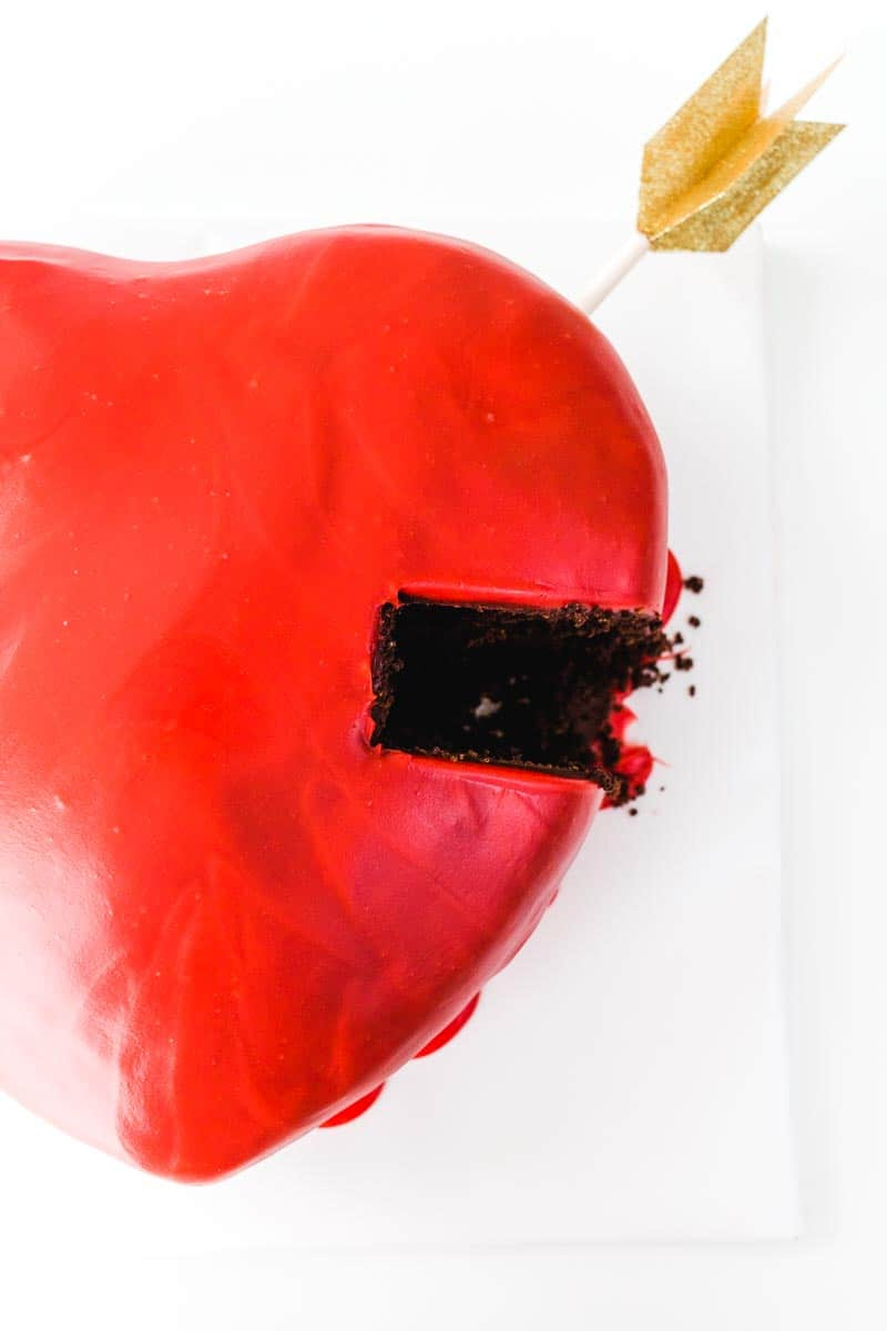 Chocolate Puffed Heart Valentine's Day Drip Cake