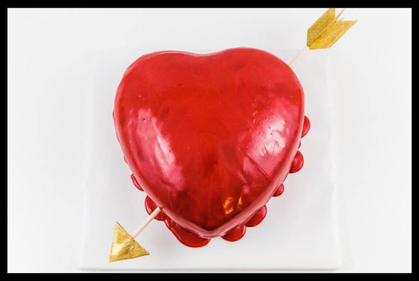 Chocolate Puffed Heart Valentine's Day Drip Cake Featured Pic