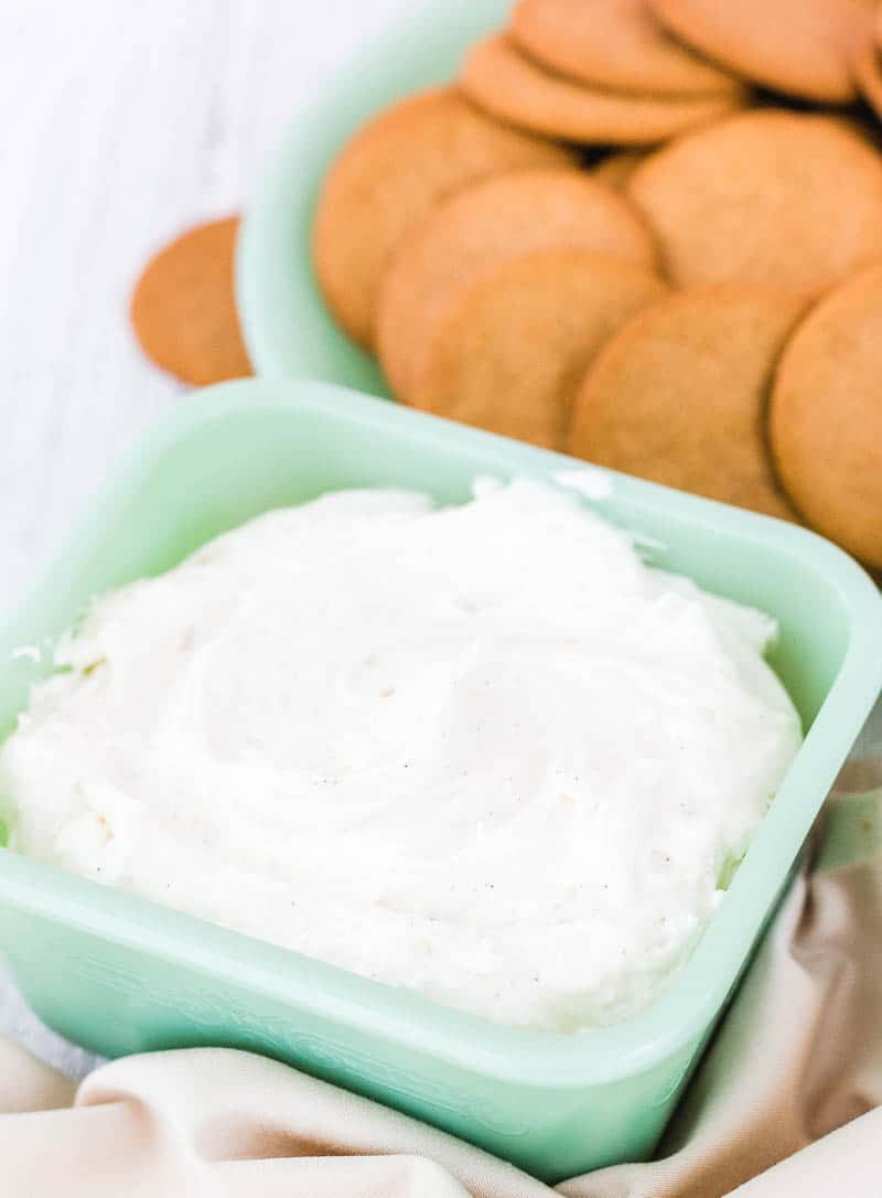 cream cheese dessert dip in a green bowl