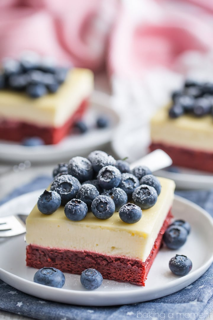 Fourth of July Red Velvet Cheesecake Bars