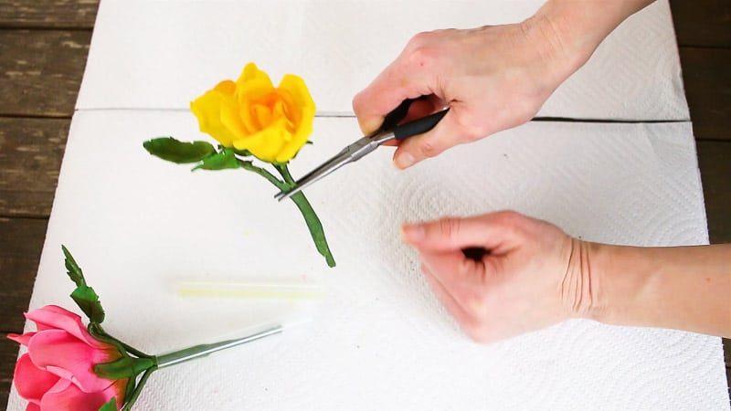 inserting gumpaste flower with needle nose pliers