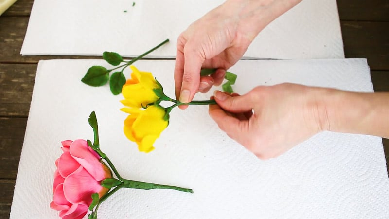 attaching yellow gumpaste roses together