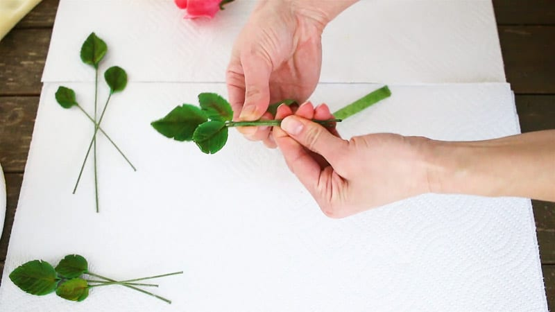 attaching gumpaste leaves together