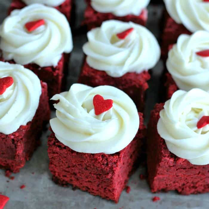 mini red velvet brownies