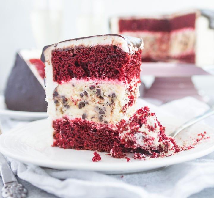 red velvet chocolate chip cheesecake cake