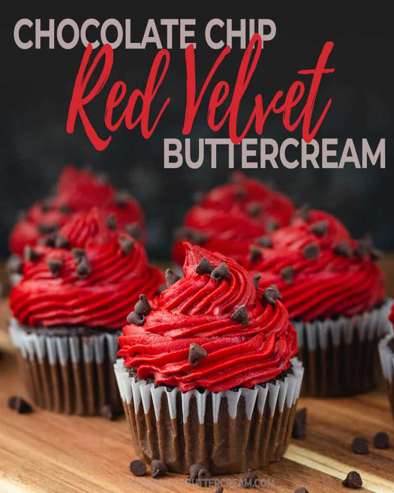 Chocolate Chip Red Velvet Buttercream Blog Title Graphic