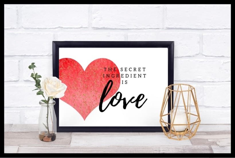 The Secret Ingredient is Love Free Kitchen Printable Featured Pic