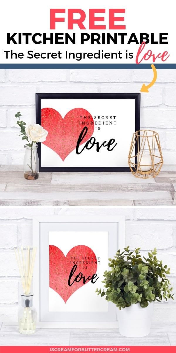 The Secret Ingredient is Love Free Kitchen Printable Pin Graphic 5