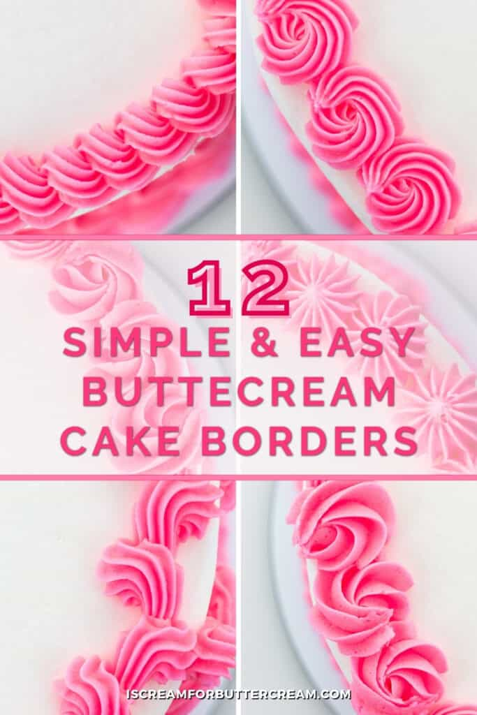 easy buttercream cake borders pin graphic