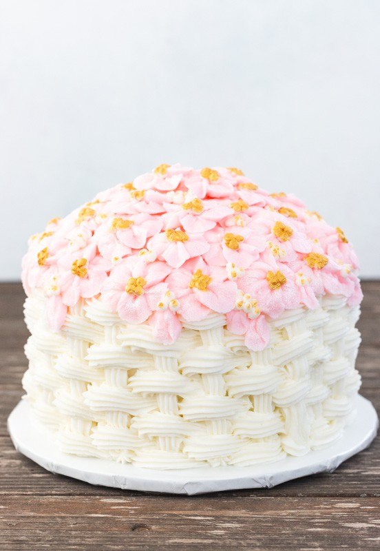 Basketweave Apple Blossom Cake