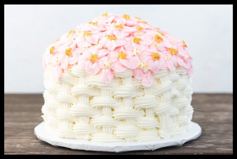Basketweave Apple Blossom Cake Tutorial Featured Image