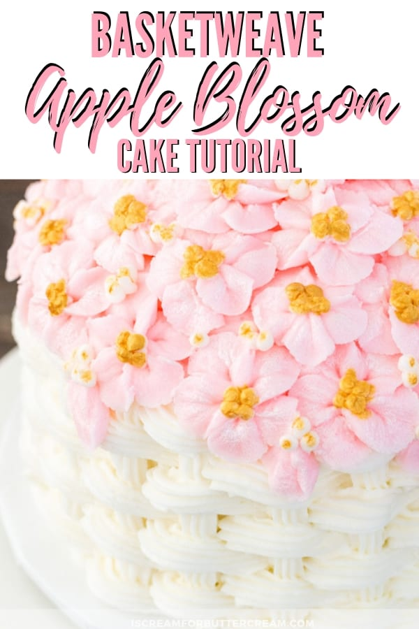 Basketweave Apple Blossom Cake Tutorial Pinterest Graphic