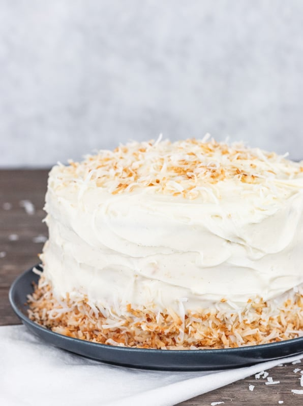 Pineapple Coconut Cake with Toasted Coconut on Top