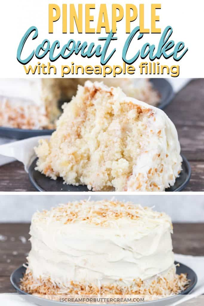 Pineapple Coconut Cake with Pineapple Filling Pinterest Graphic