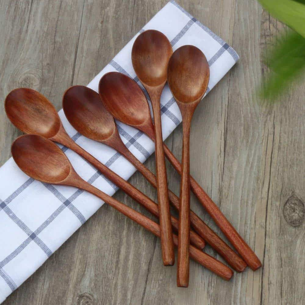 Wooden Spoons, 6 Pieces Wood Soup Spoons for Eating Mixing Stirring Cooking, Long Handle Spoon with Japanese Style Kitchen Utensil, ADLORYEA Eco friendly
