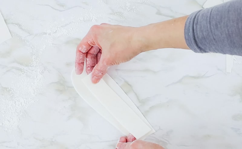 cutting the strip for the right bunny ear