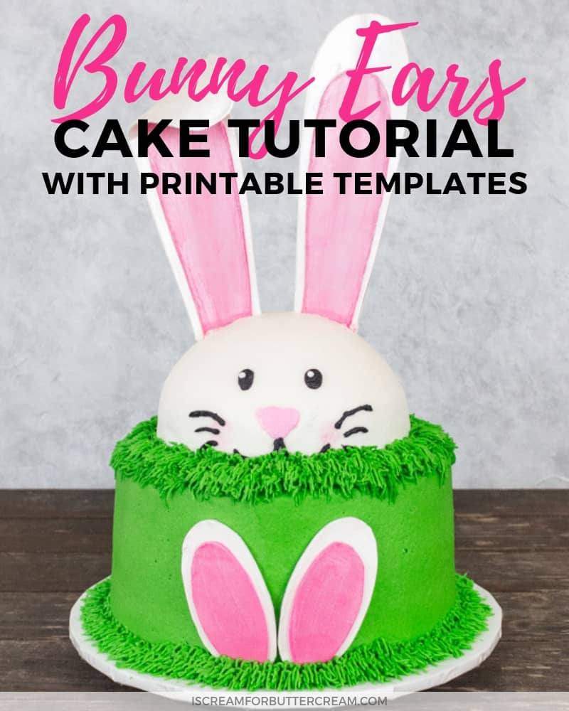 Wondrous Bunny Ears Cake With Template I Scream For Buttercream Birthday Cards Printable Trancafe Filternl