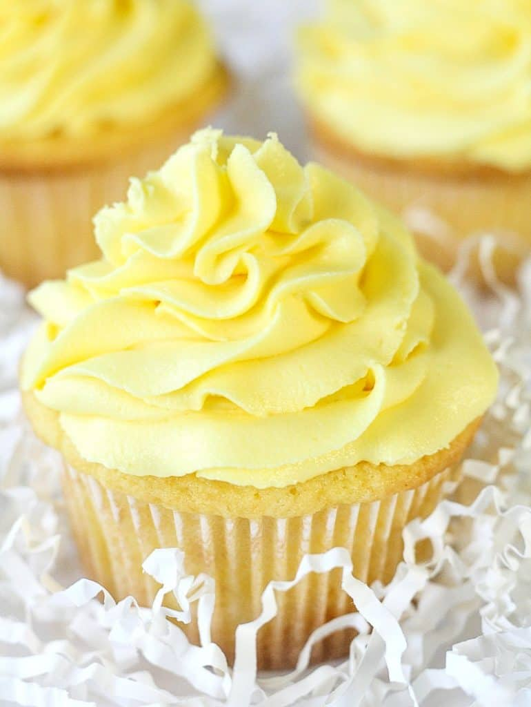close up of lemon sour cream cupcake