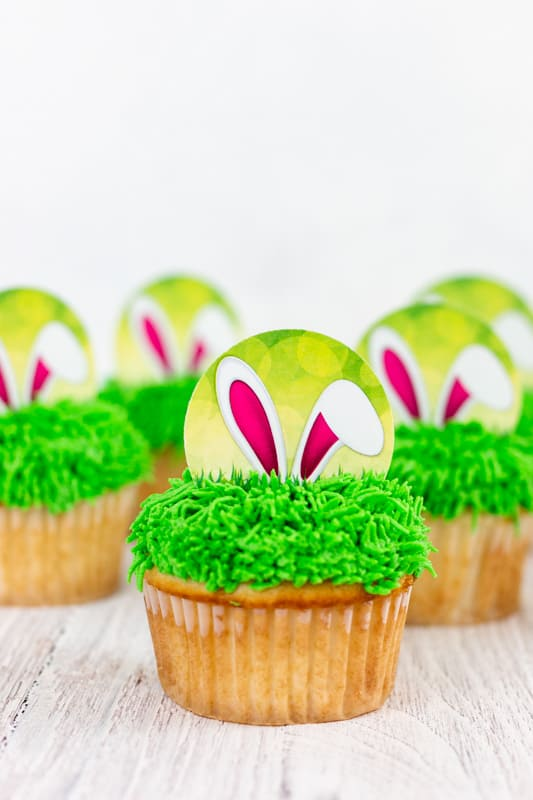 Printable Bunny Ear Easter Cupcake Toppers on cupcakes with buttercream grass