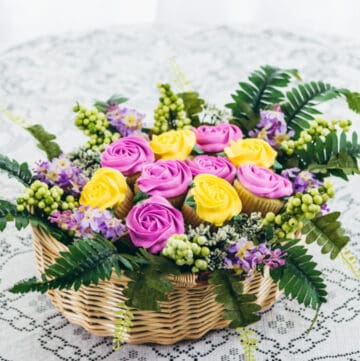 cupcake bouquet in basket featured image