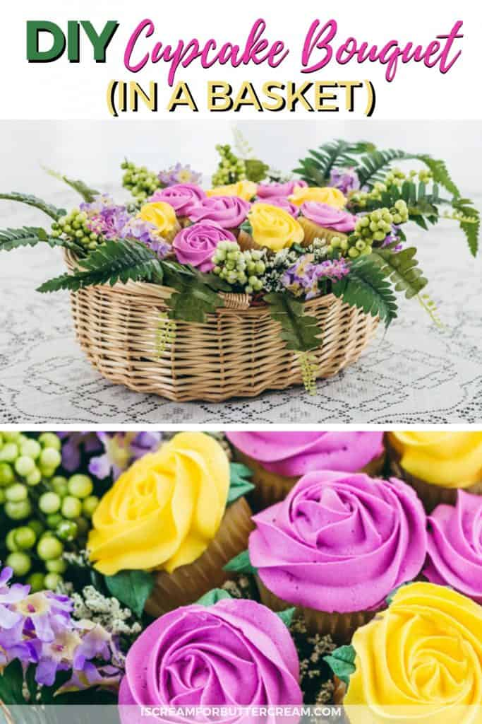 DIY Cupcake Bouquet in a basket Pinteret Image 1