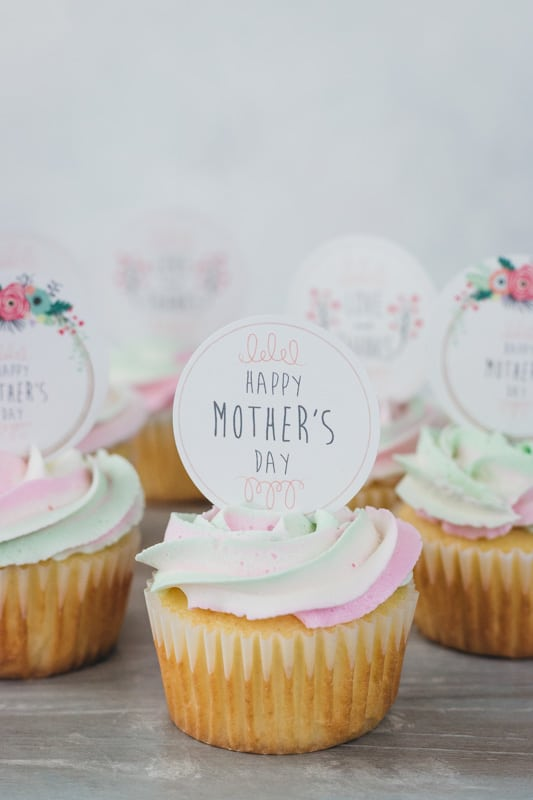mothers day cupcake with buttercream and cupcake topper