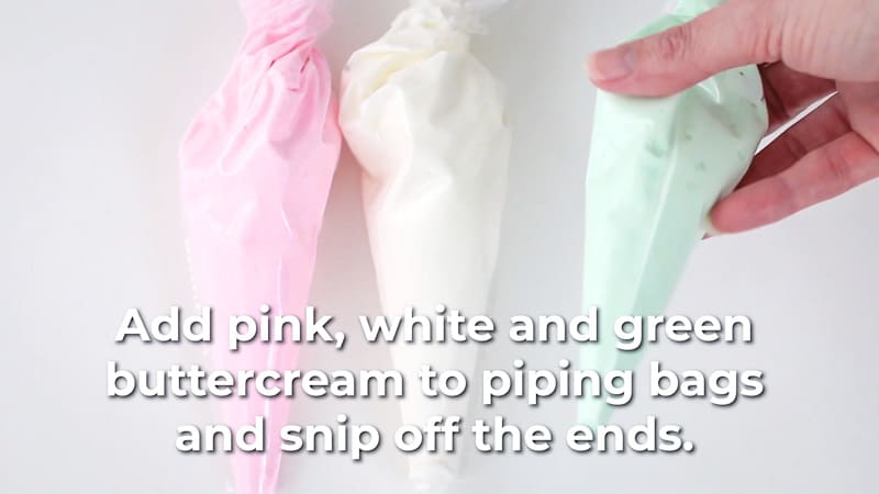 add white pink and green to icing bags