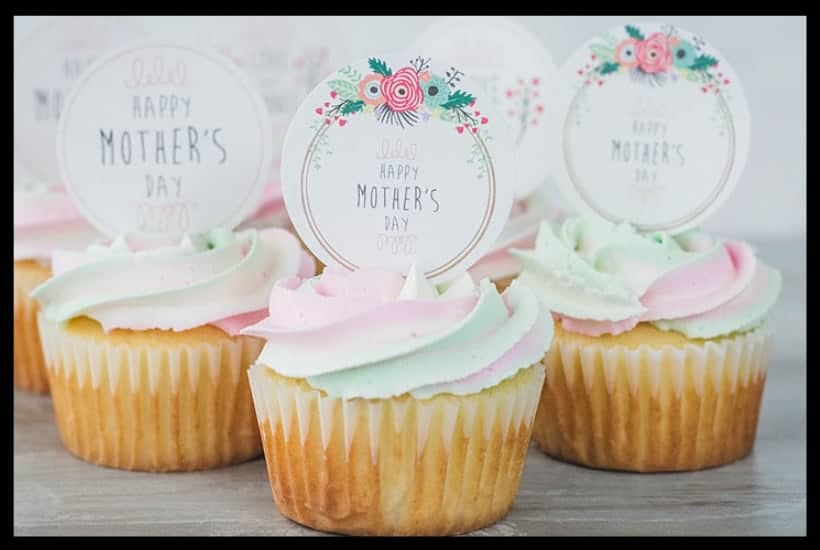Mother's Day Cupcakes free printable toppers Featured Image