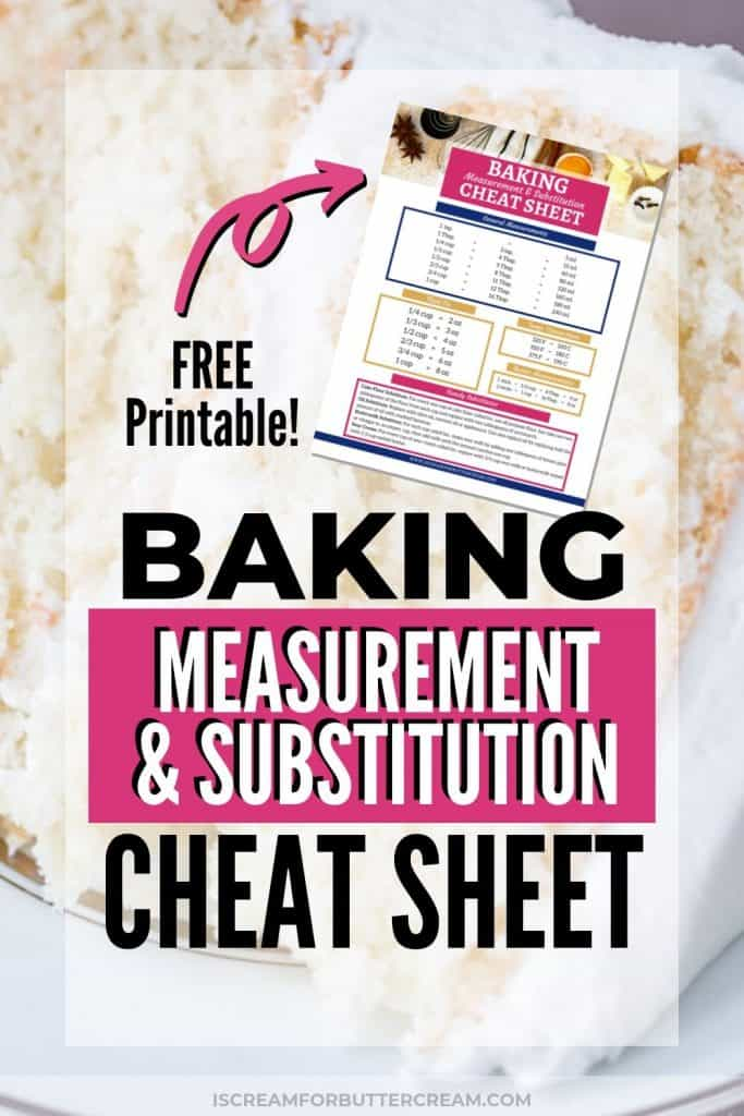 Baking Measurement and Substitution Cheat Sheet New Pin Graphic 2