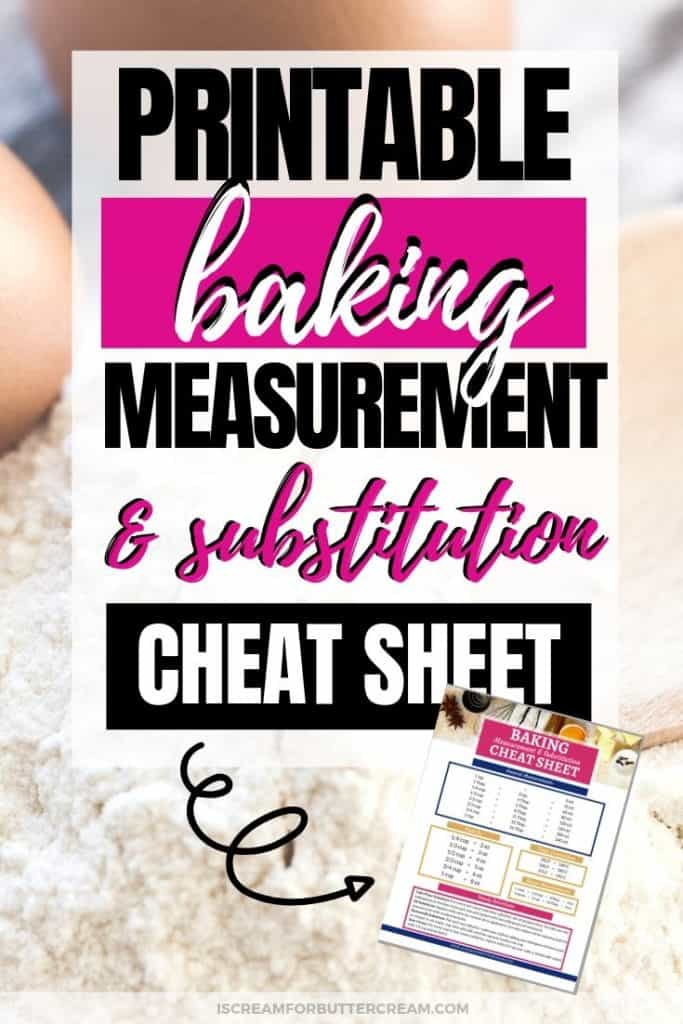 Baking Measurement and Substitution Cheat Sheet New Pin Graphic 3