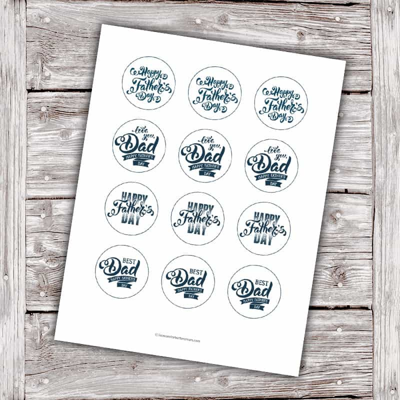 Father's Day Cupcake Topper Printables