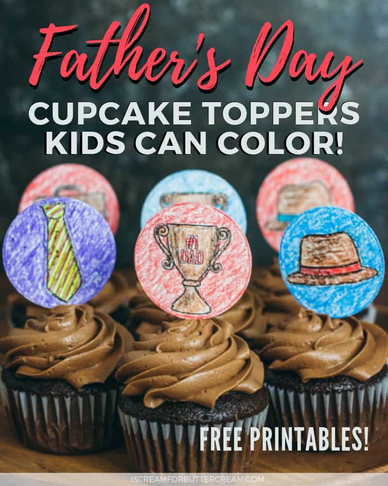 Father's Day Printable Cupcake Toppers Kids Can Color Blog Title Graphic