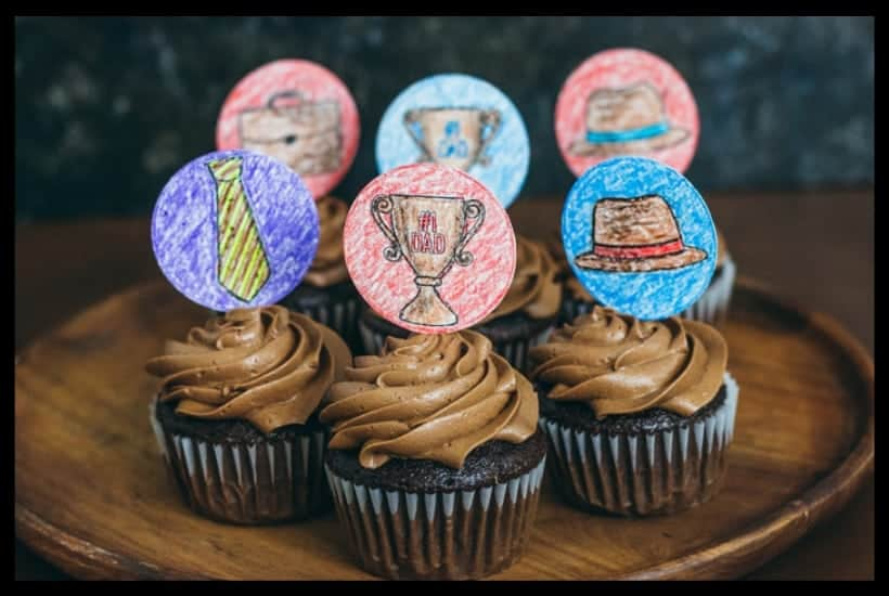 Father's Day Printable Cupcake Toppers Kids Can Color Featured Image