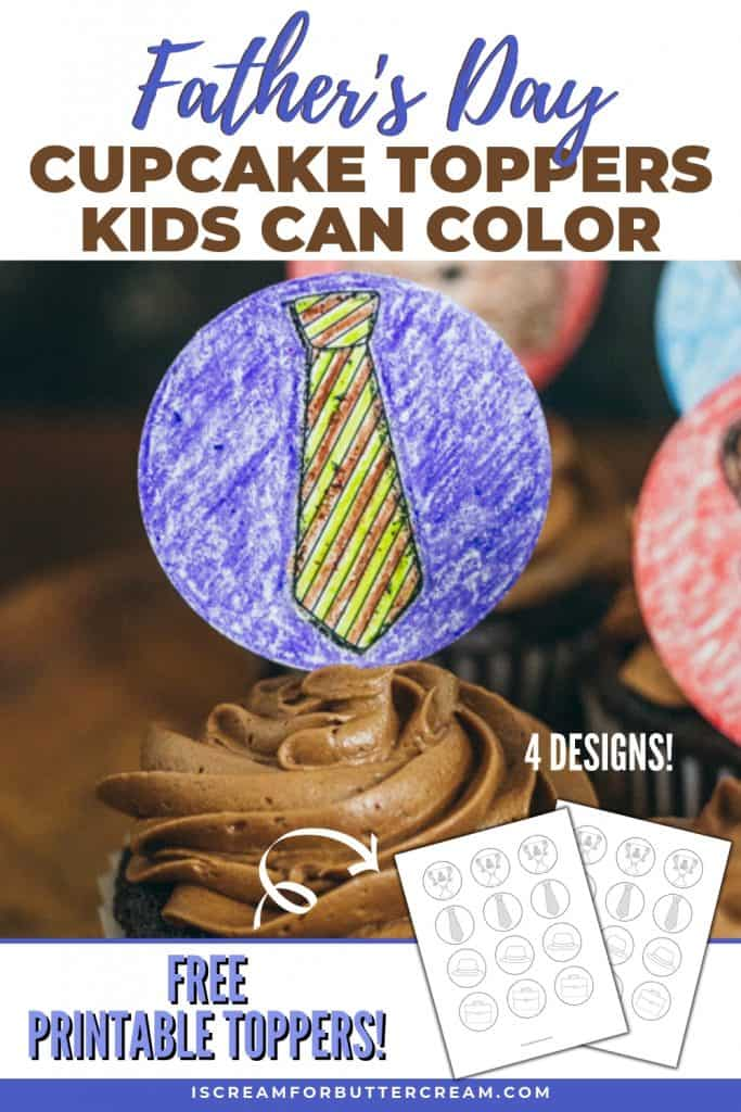 Father's Day Printable Cupcake Toppers Kids Can Color Pinterest Graphic 1